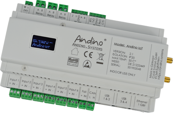 Andino IO with Raspberry Pi Motherboard on a DIN-Rail