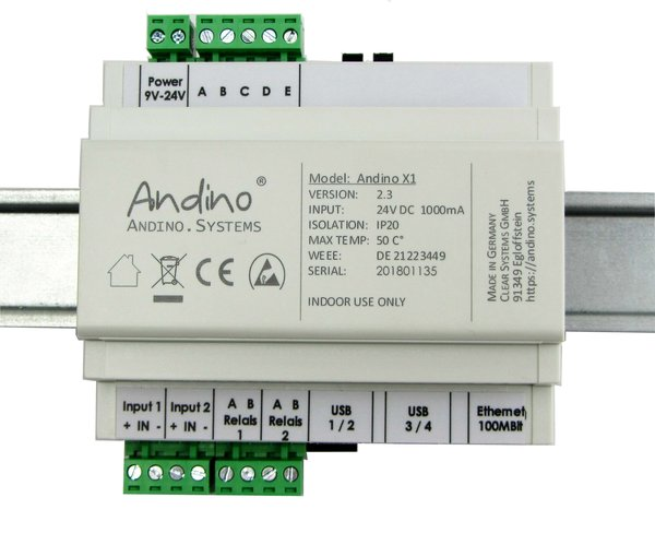 Andino X1 with Raspberry Pi on a DIN-Rail