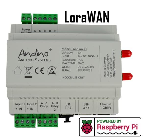 Andino X1 with Raspberry Pi 3 B+/4, LoraWAN, Heatsink and RTC