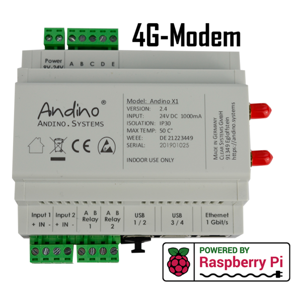 Andino X1 with Raspberry Pi 3 B+/4, 4G/LTE-Modem, Heatsink and RTC